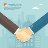 Flat illustration of handshake. Partnership. Royalty Free Stock Image