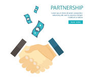 Flat illustration of handshake. Partnership. Royalty Free Stock Photo