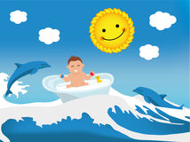 Flat illustration. Happy kid in the tub. Stock Photos