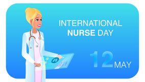 Flat Illustration Happy Woman in Medical Uniform stock illustration