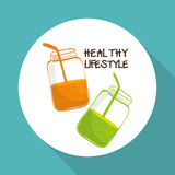 Flat illustration of healthy lifestyle design Stock Photos