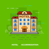 Flat illustration of hotel against green background Royalty Free Stock Images