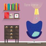 The flat illustration interior. Depicted room with a chair, a lamp, a pillow, a rack, shelf, book, chest of drawers Royalty Free Stock Photo