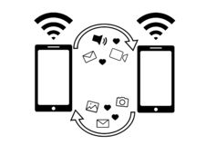 Wi-fi Information. Exchange Scheme. Phone template. vector icons. Flat illustration. Internet. 24 hours service. vector icon in new flat style. Shopping.Wi-fi vector illustration