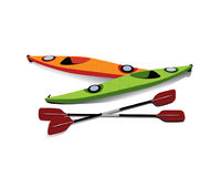 Flat illustration of  kayaks with oars on shore. Flat illustration of two kayaks with oars on shore Stock Photography