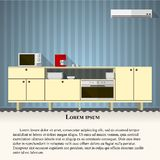 Flat illustration of kitchen with blue wall Stock Photo