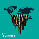Flat illustration of a leader and a team. a crowd of men Royalty Free Stock Photography