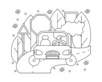 Flat illustration in lines with girl in a car. Automotive concept royalty free illustration