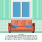 Flat illustration of living room interior Stock Photo