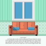 Flat illustration of living room interior Stock Photo