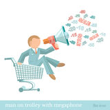 Flat illustration man on trolley with megaphone Stock Image