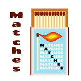 Flat illustration of matchbox with matches. Box with matchsticks. stock photo
