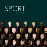 Flat illustration with men group or community wearing sport uniform. sport team Royalty Free Stock Images