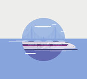 Flat illustration of modern high-speed train. Flat design style modern  illustration poster concept of modern city high-speed train crossing over bridge Royalty Free Stock Image