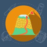 Flat illustration for mountaineering route Royalty Free Stock Photo
