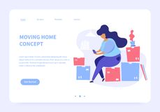 Moving Home Landing Page Concept royalty free illustration