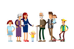 Flat illustration multi-generation family Royalty Free Stock Image