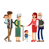Flat illustration multi-generation family Stock Image