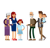 Flat illustration multi-generation family Royalty Free Stock Photography