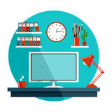 Flat  illustration with office things Royalty Free Stock Photos