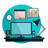 Flat  illustration with office things Stock Photo