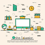 Flat illustration for Online Education. Modern doodle design style of Online Education, Distance Learning, Training and Educational Elements.Creative line art Royalty Free Stock Images