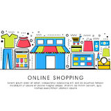 Flat illustration for Online Shopping concept. Modern flat style illustration with thin line icons of Online Shopping process, Internet Merchant Marketplace Royalty Free Stock Images