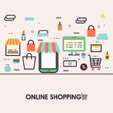 Flat illustration of Online Shopping on mobile phone. Royalty Free Stock Image