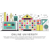 Flat illustration for Online University. Stock Photography