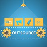Flat illustration of outsourced mechanism Stock Photography