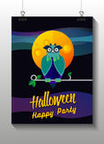 Flat illustration with owl, moon, sky. Background. Royalty Free Stock Images