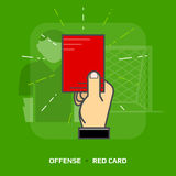 Flat illustration of penalty card against green background Stock Images