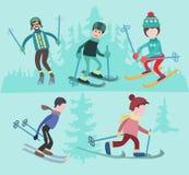 Flat  illustration of people skiing. Royalty Free Stock Photo