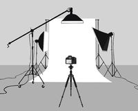 Flat Illustration Photography studio vector. Stock Photos