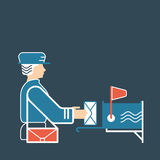Flat illustration with postman and mailbox. Stock Photos