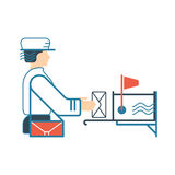 Flat illustration with postman and mailbox. Royalty Free Stock Photos