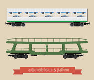 The flat illustration railcars. Two carriages of different types. Covered wagon for trucks and platform trucks. Beige background Stock Image