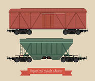 The flat illustration railcars. Two carriages of different types. Hoppers and covered wagon. Beige background Stock Images