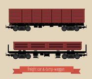 The flat illustration railcars. Two carriages of different types. Open the car and dump-car train. Beige background Royalty Free Stock Images