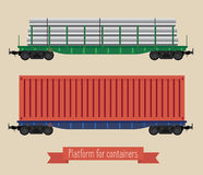 The flat illustration railcars. Two carriages of different types. Two platforms, one for long loads, the second container. Beige background Stock Images
