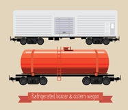 The flat illustration railcars. Two carriages of different types. Wagon refrigerator and tank. Beige background Royalty Free Stock Photography