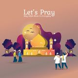 Let`s pray together at the mosque for Muslims stock illustration