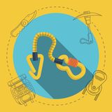 Flat illustration for rock climbing. Quickdraw Royalty Free Stock Image