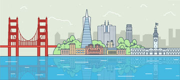 Flat  illustration of San Francisco, California Stock Photos