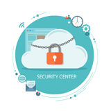 Flat illustration of security center. Cloud  with lock and icons Royalty Free Stock Photography