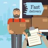 Flat illustration service. Depicted courier with sending and receiving a human hand package. The background shows the city and cars Royalty Free Stock Image