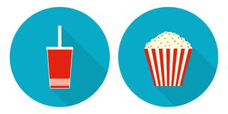 Flat vector cup of cola and bucket of popcorn. Flat illustration set - cup of cola and striped bucket of popcorn Royalty Free Stock Photography