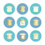 Vector Flat illustration set of isolated gift boxes icons. Gold decoration. For Christmas stock illustration