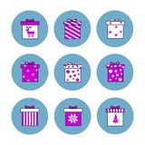 Flat illustration set of isolated gift boxes icons. Pink decoration. For Christmas vector illustration