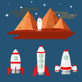 Flat illustration set of missiles. mountains Mars. Flat illustration image set of missiles against mountains of the planet Mars and a starry sky Stock Photo